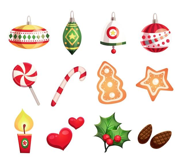 Frohes neues jahr und frohe weihnachten design set mit dekorativen elementen
