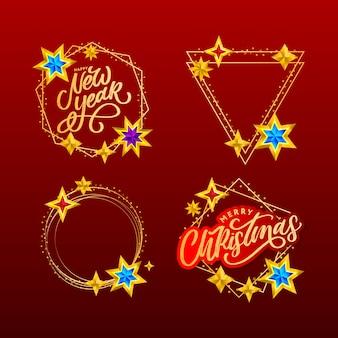 Frohes neues jahr und frohe weihnachten schriftzug im goldenen rahmen. schriftzug zusammensetzung mit sternen und funkeln. feiertagsrahmen gesetzt