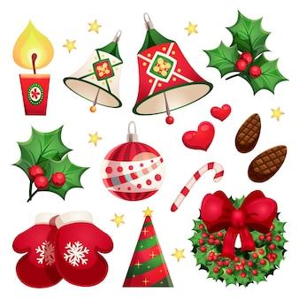 Frohes neues jahr und frohe weihnachten set