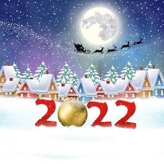Frohes neues jahr und frohe weihnachten winterdorf mit bäumen. weihnachtsmann mit hirschen im himmel über der stadt. konzept für gruß- und postkarten, einladungen, vorlagen, vektorillustrationen. 2022