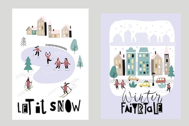Frohes neues jahr und frohe weihnachten winterstadt straßenvektor. stadtpanorama.