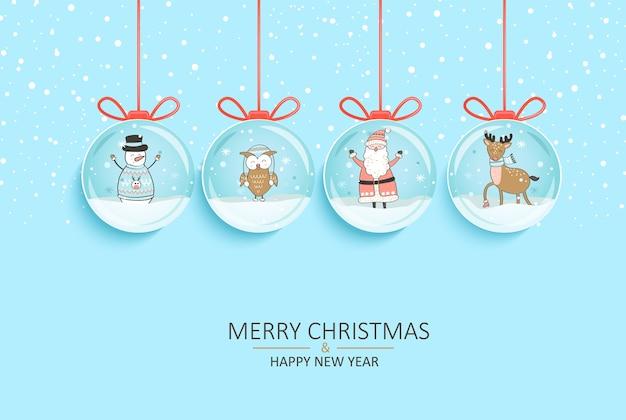Frohes neues jahr und frohe weihnachtskarte