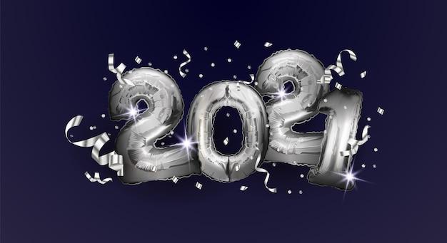 Frohes neues jahr und weihnachten 2021. silberballons nummer 2021.