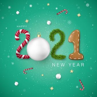 Frohes neues jahr. vorlage für feiertagsbanner oder grußkarte