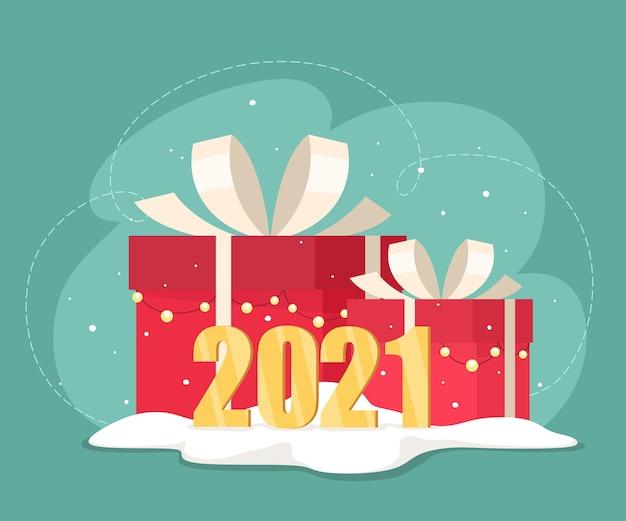 Frohes neues jahr. weihnachtsgeschenkboxen. illustration im flachen stil.