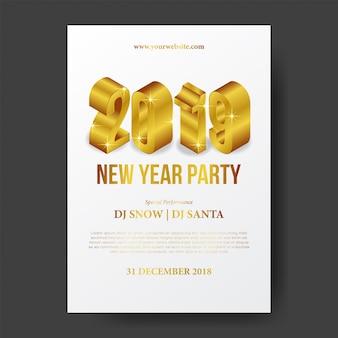 Frohes neues plakat mit gold 3d isometrisch