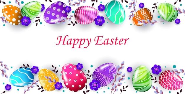 Frohes osterfeiertagsfeierfahnenflieger oder grußkarte mit horizontaler illustration der dekorativen eier