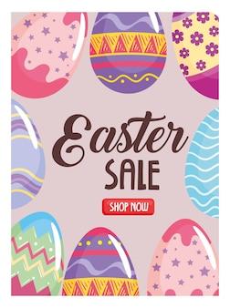 Frohes osterjahresverkaufsplakat mit beschriftung und gemalter illustration der eier