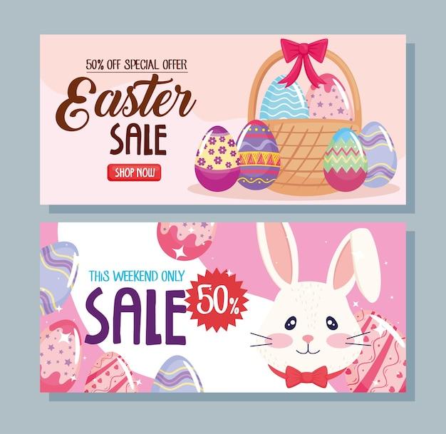 Frohes osterjahresverkaufsplakat mit gemalter illustration des kaninchens und der eier
