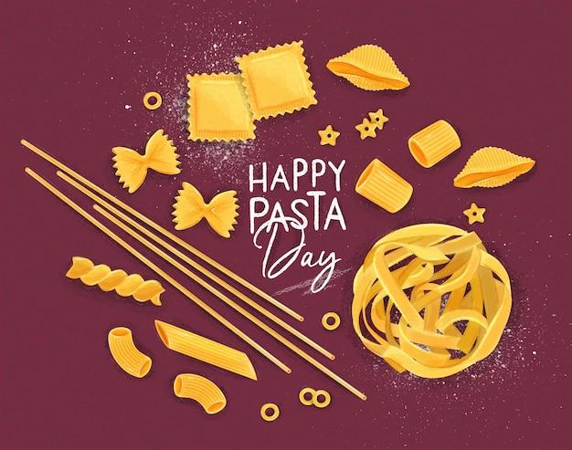 Frohes pasta-tagesplakat purpurrot