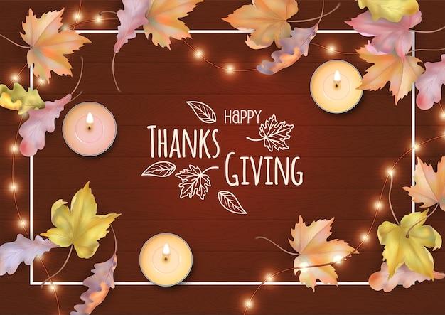 Frohes thanksgiving. herbst-draufsichtzusammensetzung mit gefallenen blättern auf einem hölzernen hintergrund