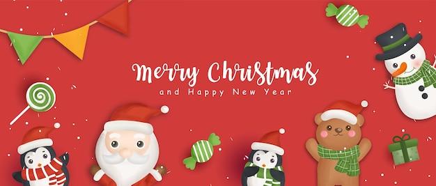Frohes weihnachtsbanner mit weihnachtsmann und freunden.