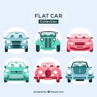 Frontalansicht der flachwagen in drei farben