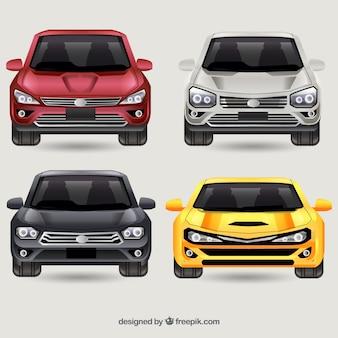 Frontansicht verschiedener autos