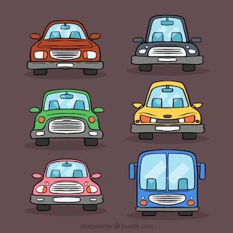 Frontansicht von sechs cartoon fahrzeuge