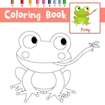 Frosch, der fliegenfarbtonseite isst