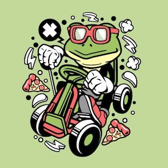 Frosch gokart-rennläufer-karikatur