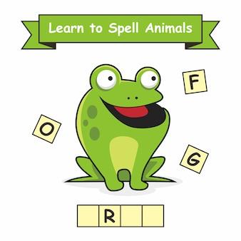 Frosch lerne tiere zu buchstabieren