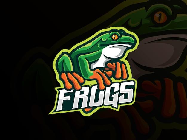 Frosch maskottchen sport logo design