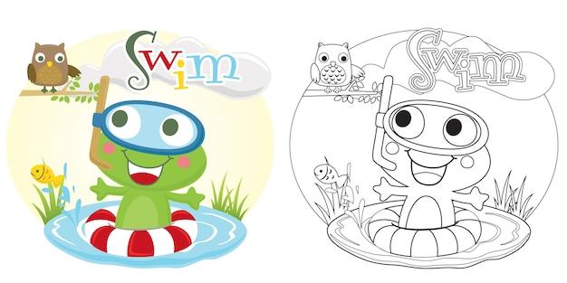 Frosch schwimmt im fischteich mit einer eule
