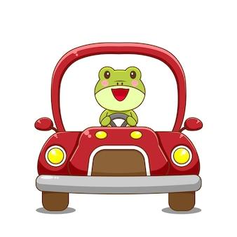 Froschcharakter, der auto fährt.