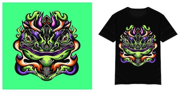 Froschmonsterkopf-vektor-t-shirt illustration