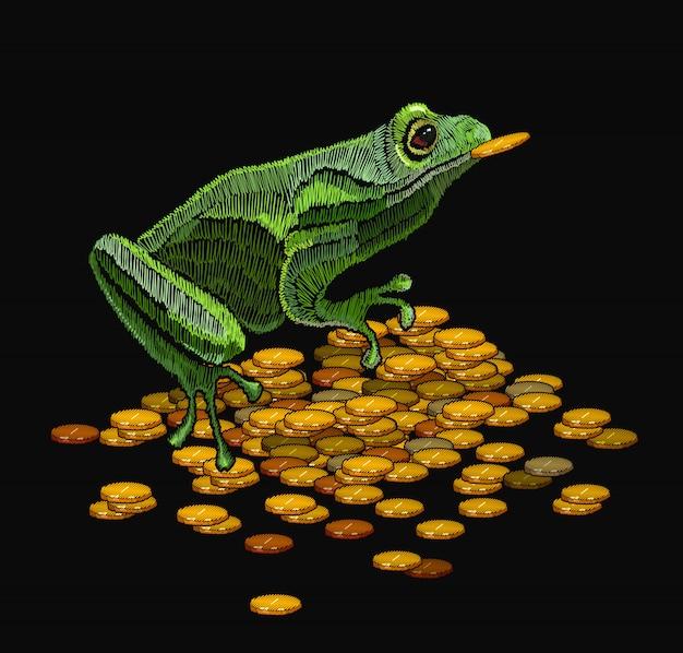 Froschstickerei und goldene münzen