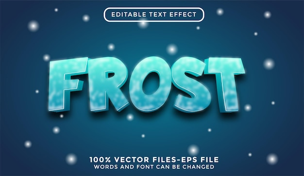 Frost. bearbeitbare texteffekt-premium-vektoren