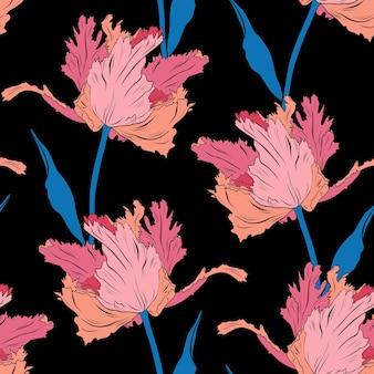 Frottee rosa hübsche tulpen. nahtloses muster. handgezeichnete vektor-illustration. strichzeichnungen. textur für druck, stoff, textil, tapete.