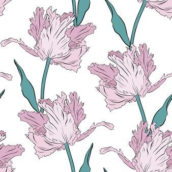 Frottee rosa tulpen. nahtloses muster. handgezeichnete vektor-illustration. strichzeichnungen. textur für druck, stoff, textil, tapete.