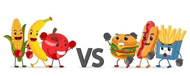Frucht in boxhandschuhen gegen fast food auf einem weiß. gesunde ernährung.