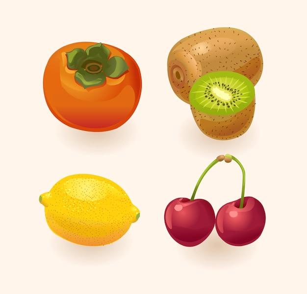 Frucht isoliert. persimmon kiwi zitronenkirsche obst gesetzt