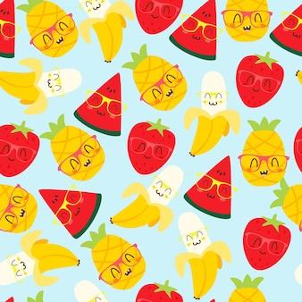 Frucht kawaii muster