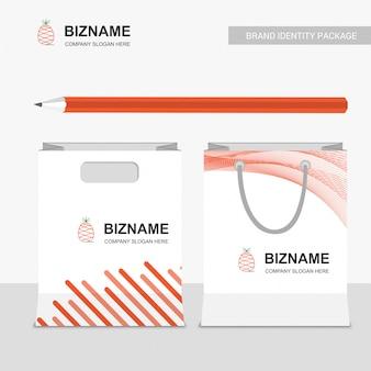 Frucht logo und einkaufstasche branding