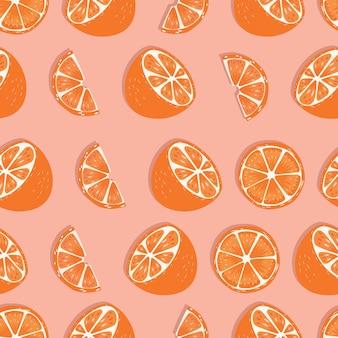 Frucht nahtloses muster, orange hälften und scheiben mit schatten auf rosa hintergrund. exotische tropische früchte.