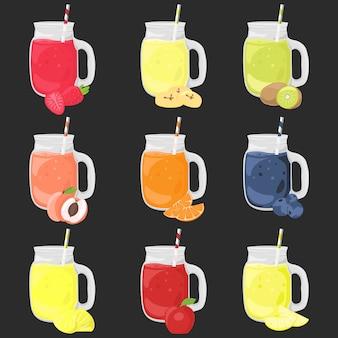 Frucht-smoothie-cartoon-vektor-clipart-satz. farbige isolierte getränkeillustration.