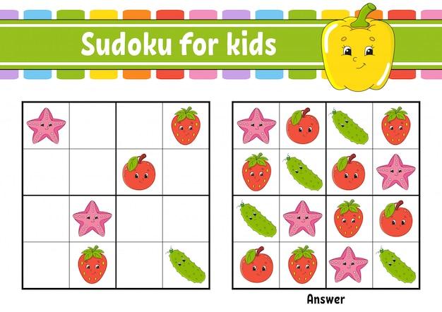 Frucht sudoku arbeitsblatt