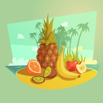 Frucht- und strandkarikaturkonzept