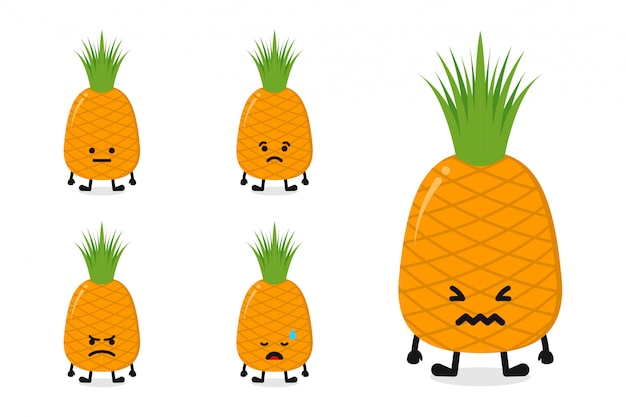 Fruchtananas-charakterillustration eingestellt für traurigen ausdruck