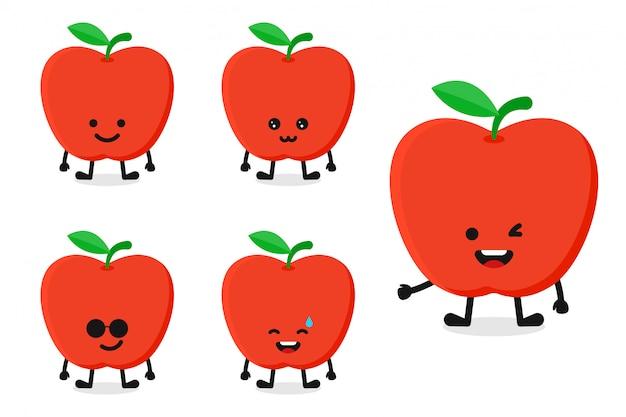 Fruchtapfelcharakter-vektorillustration eingestellt für glücklichen ausdruck