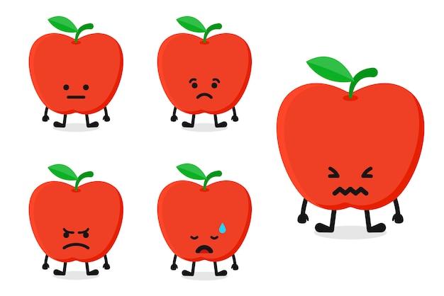 Fruchtapfelcharakter-vektorillustration eingestellt für traurigen ausdruck