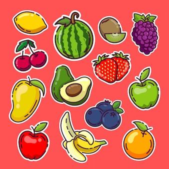 Fruchtaufkleber sammlung