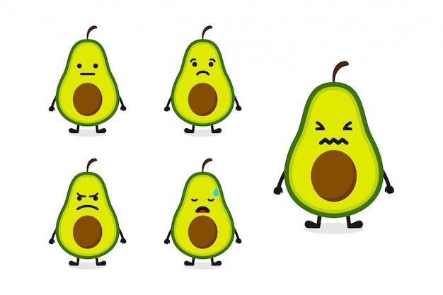 Fruchtavocado-charakterillustration eingestellt für traurigen ausdruck