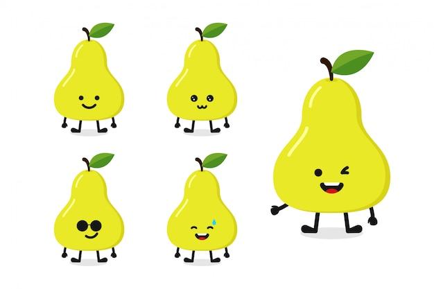 Fruchtbirnen-charakterillustration eingestellt für glücklichen ausdruck