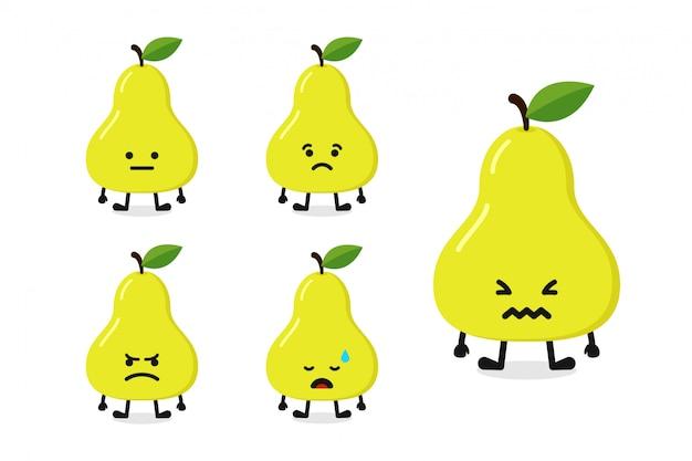 Fruchtbirnen-charakterillustration eingestellt für traurigen ausdruck