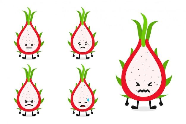 Fruchtdrachefrucht-charakterillustration eingestellt für traurigen ausdruck