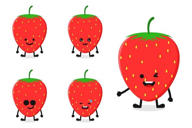 Fruchterdbeercharakterillustration eingestellt für glücklichen ausdruck