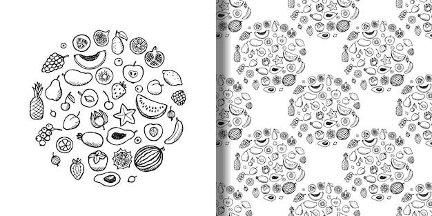 Fruchtgekritzel handgezeichneter satz und nahtloses muster vektorillustrationen für vegane tapeten