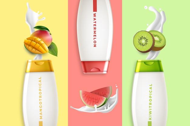 Fruchtige lotionen kosmetische anzeige