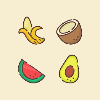 Fruchtikonen-satzsammlung bananen-kokosnusswasser-melonen-avocadoweiß